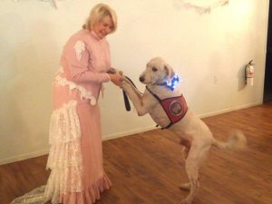 Lady dancing with dog